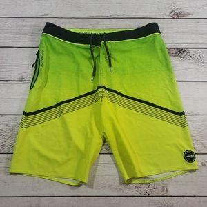 O'Neill hyper freak yellow blackboard shorts 34